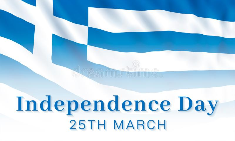 25th of March - Greek Independence Day, national holiday in Greece and Cyprus. Vector banner design template with a realistic Greece flag and text vector illustration