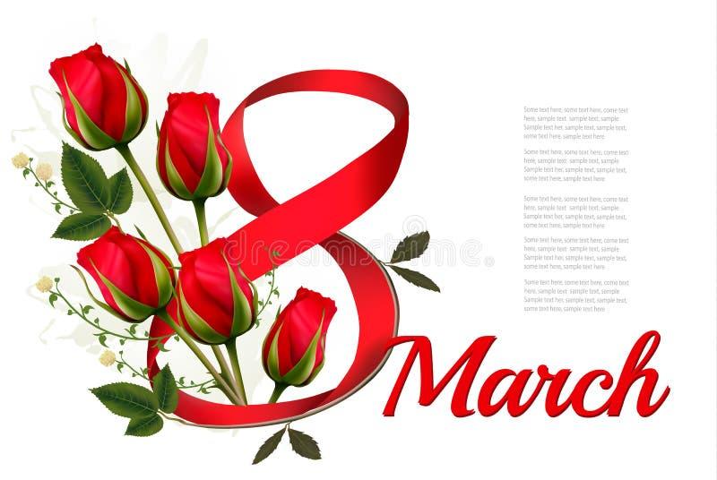 8th Marcowa ilustracja z czerwonymi różami s międzynarodowego dnia kobiet ilustracji