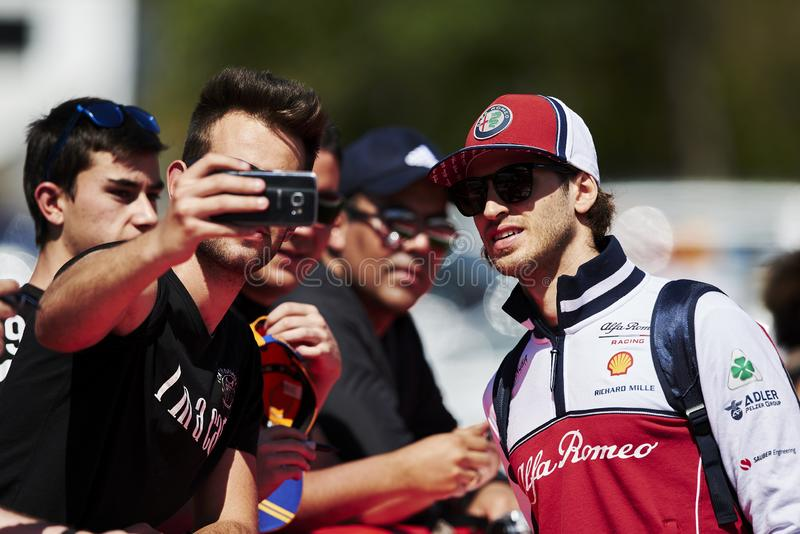 Formula One Spain Grand Prix. 12th May 2019, Circuit de Barcelona-Catalunya, Barcelona, Spain; Formula One Grand Prix of Spain, race day; Antonio Giovinazzi of royalty free stock image