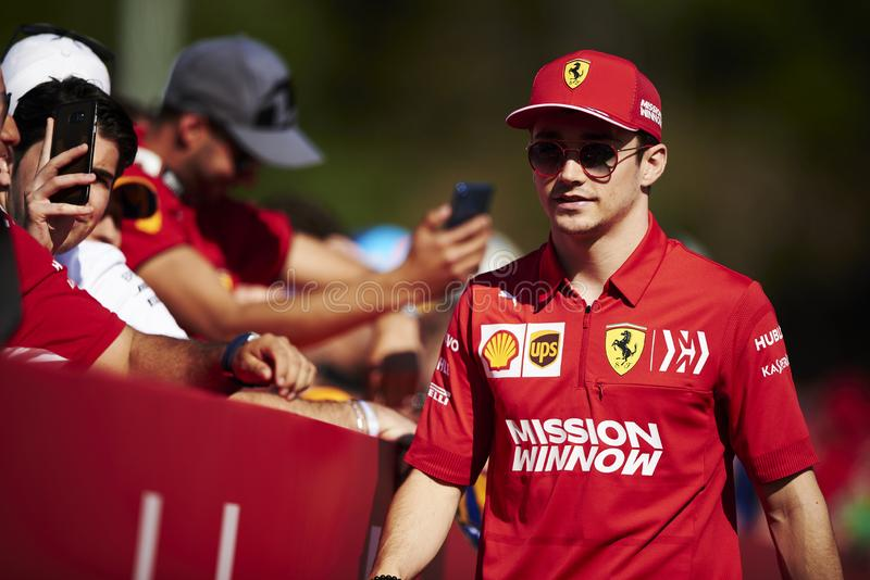 Formula One Spain Grand Prix. 12th May 2019, Circuit de Barcelona-Catalunya, Barcelona, Spain; Formula One Grand Prix of Spain, race day; Charles Leclerc of the stock images