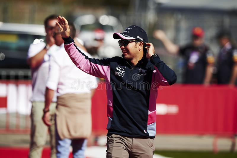 Formula One Spain Grand Prix. 12th May 2019, Circuit de Barcelona-Catalunya, Barcelona, Spain; Formula One Grand Prix of Spain, race day; Sergio Perez of the stock photos