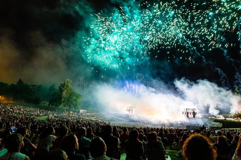 15th May 2019 – Madrid, Spain: a crowd of people in Parque Tierno Galvan for the fireworks show during the San Isidro Festival. 15th May 2019 – royalty free stock image