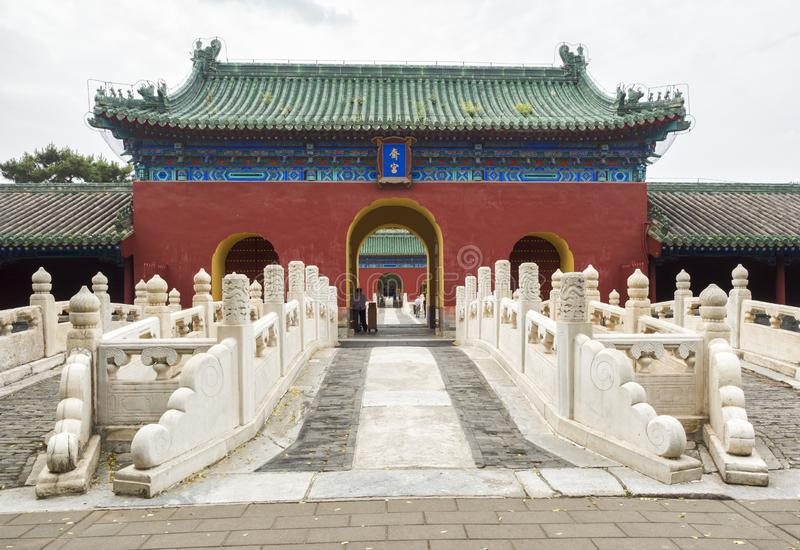 19th of May, 2018: Palace of Abstinence entrance at the Temple of Heaven, Beijing, China.  royalty free stock image