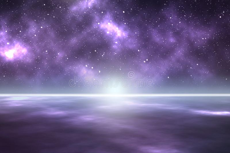A beautiful mysterious background of the universe and stars with cloud nebula. Looking down on a planet of clouds. With a glowing star on the horizon royalty free stock photo
