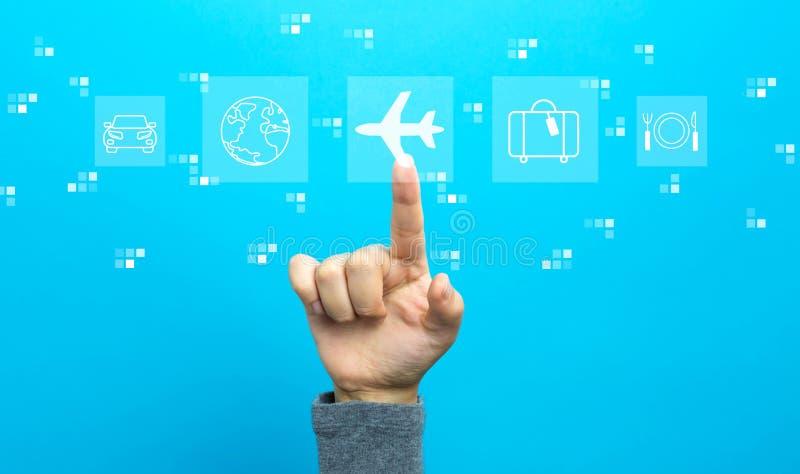 Th?me de voyage d'avion avec la main image stock