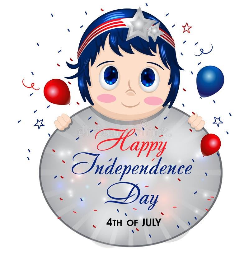 4th n?tt flickajuli affisch barn f?r holdingteckenkvinna Kvinnlig i patriotiska färger lycklig sj?lvst?ndighet f?r dag USA f?rena stock illustrationer