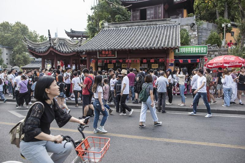 Many tourists in front of the temple stock photos