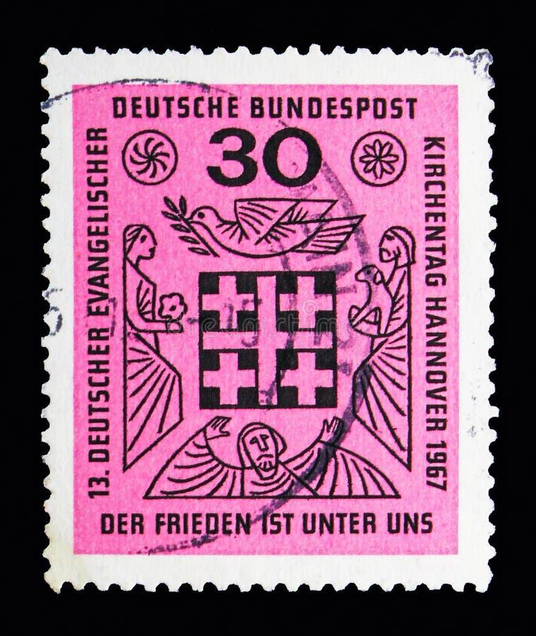 13th Niemiecki Ewangelicki kościół dzień, seria, około 1967 fotografia royalty free