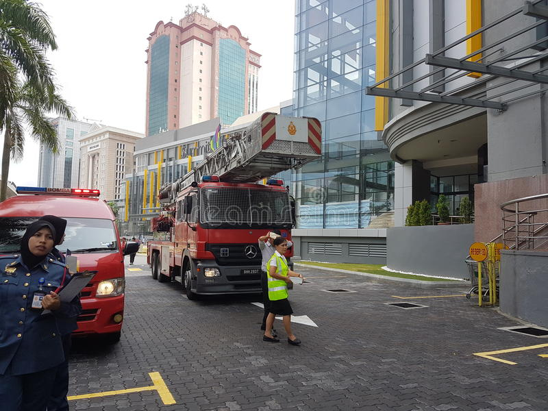 5th Oct 2016 Subang Jaya , Malaysia.Fire Drill Exercise at Summit Hotel Subang USJ was done this morning. Fire Drill Exercise was done this morning. All Hotel royalty free stock photo