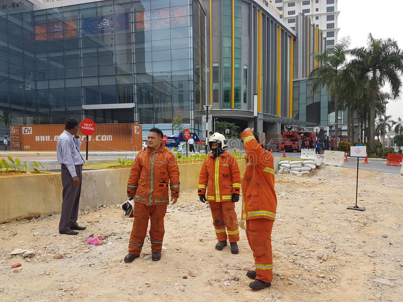 5th Oct 2016 Subang Jaya , Malaysia.Fire Drill Exercise at Summit Hotel Subang USJ was done this morning. Fire Drill Exercise was done this morning. All Hotel stock images