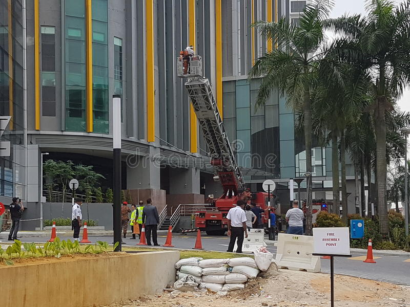 5th Oct 2016 Subang Jaya , Malaysia.Fire Drill Exercise at Summit Hotel Subang USJ was done this morning. Fire Drill Exercise was done this morning. All Hotel stock image