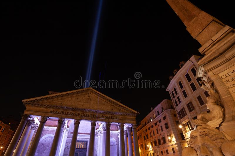 26th October 2019 - `The light beam` seen from Pantheon, tribute to New York Twin Towers after the September 11th tragedy.  stock photo