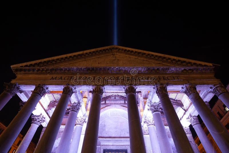 26th October 2019 - `The light beam` seen from Pantheon, tribute to New York Twin Towers after the September 11th tragedy.  stock photos