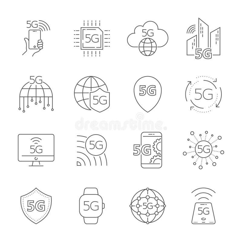 5th pokolenia mobilna sieć, wysokiej prędkości podłączeniowi bezprzewodowi systemy 5G technologii ikony ustawia? 5G technologii w ilustracja wektor