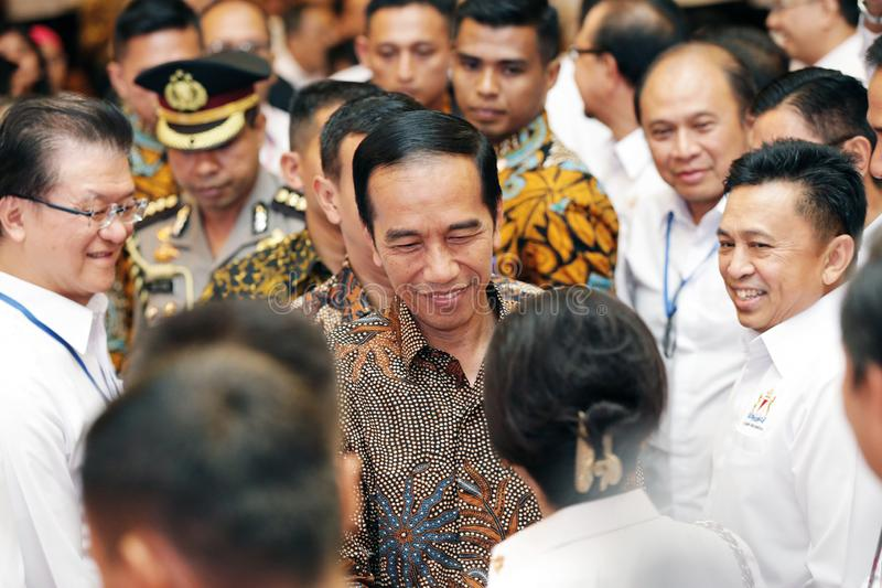 The 7th President of Indonesia Joko Widodo. In national working meeting Chamber of Commerce and Industry in Indonesia at Ritz Hotel Mega Kuningan Jakarta on royalty free stock photography