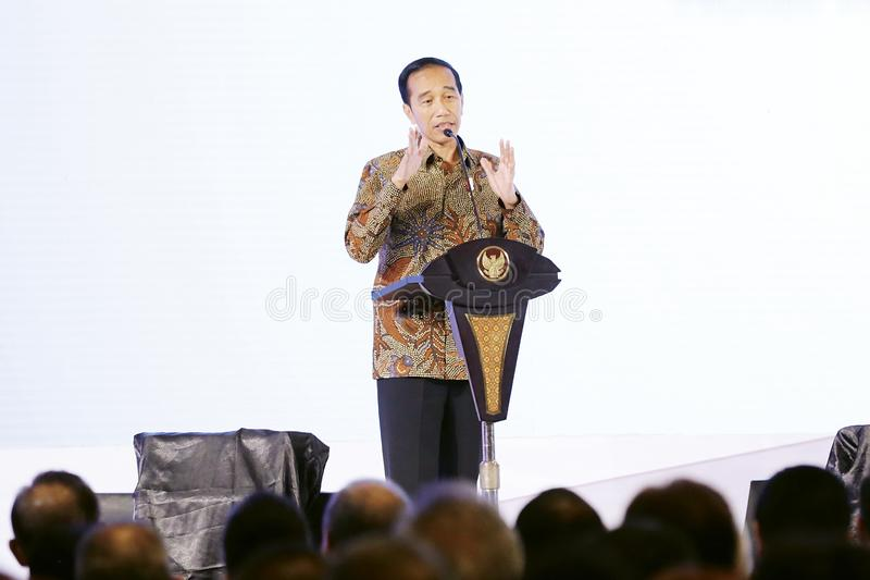 The 7th President of Indonesia Joko Widodo. In national working meeting Chamber of Commerce and Industry in Indonesia at Ritz Hotel Mega Kuningan Jakarta on stock image