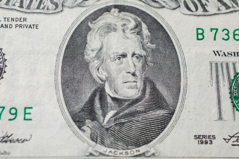 7th President of the United States, Andrew Jackson Portrait on twenty dollar bill. Money background ,twenty dollar bills front side obverse. background of royalty free stock photography