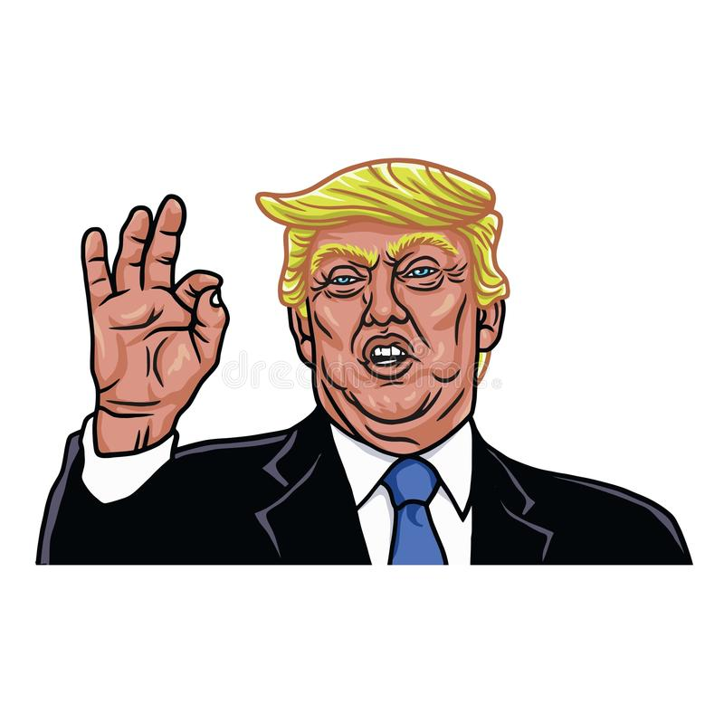 The 45th President of the United States. Caricature Cartoon Portrait of Donald Trump. Vector Illustration stock illustration