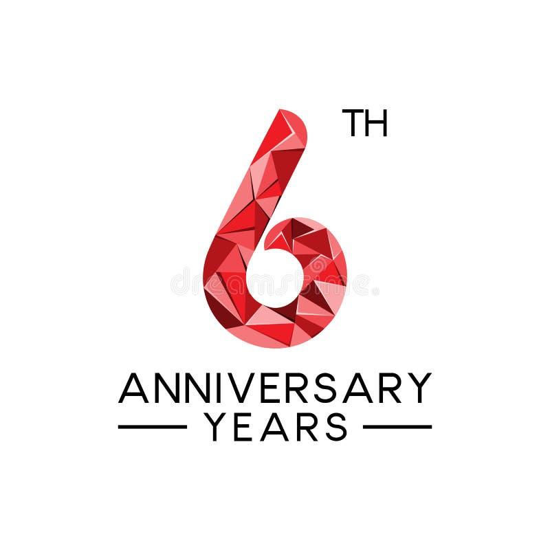 6th rocznicowego roku abstrakcjonistycznego trójboka nowożytny pełny kolor ilustracja wektor