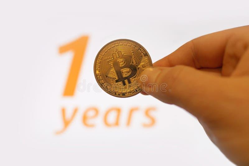 10th Rocznicowy Bitcoin fotografia stock