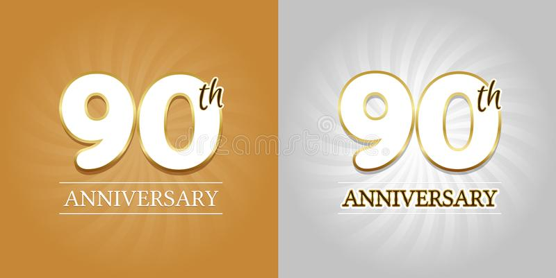 90th Rocznicowy tło - 90 rok świętowania srebro i złota ilustracji