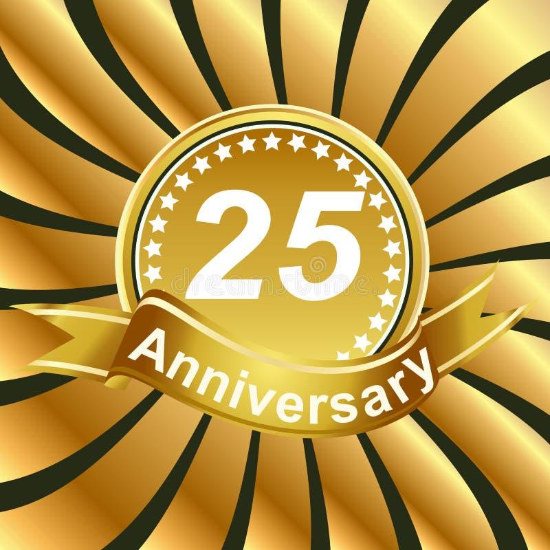 25th rocznicowy tasiemkowy logo z złotymi promieniami światło ilustracja wektor