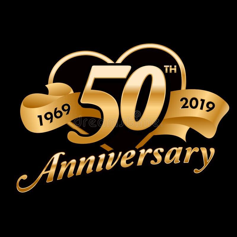 50th símbolo do aniversário ilustração stock