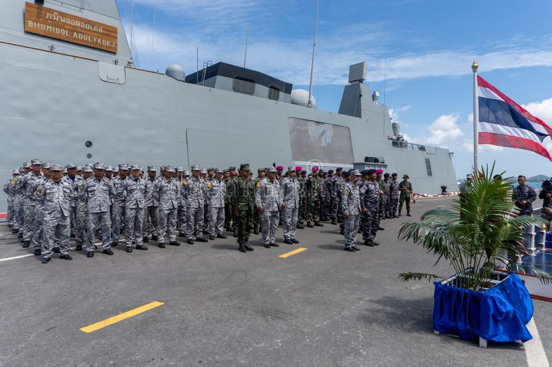 The 20th Sea Garuda 2019 Bilateral Naval Exercise opening ceremony between Royal Thai Navy and Indonesian Navy at Chuk Samet port. CHONBURI, THAILAND - AUGUST 15 royalty free stock photography