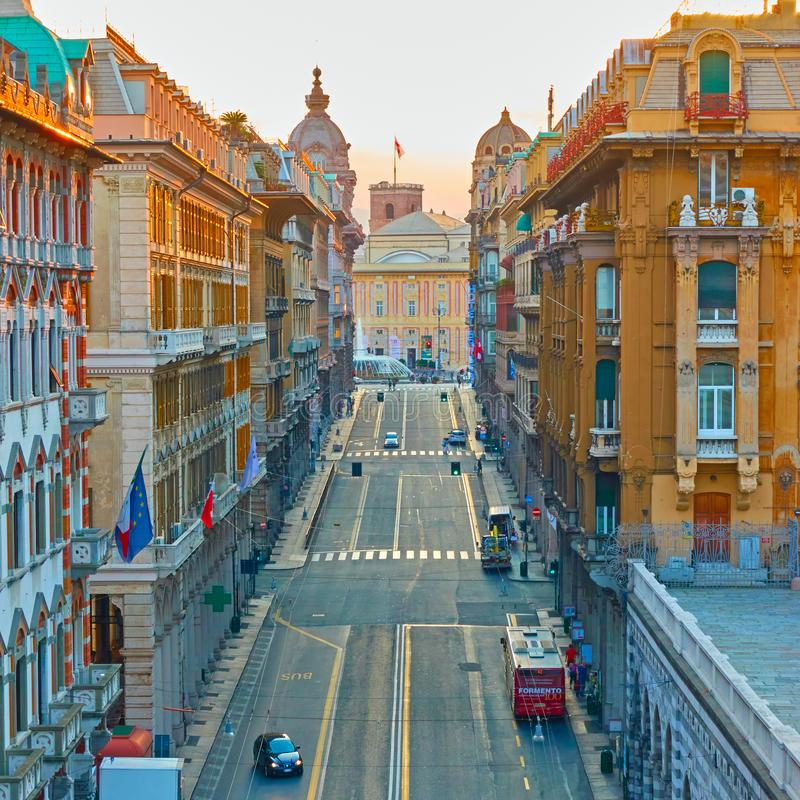 20th September street in Genoa royalty free stock photography