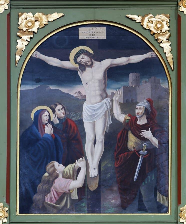 12th stacje krzyż, Jezus umierają na krzyżu fotografia stock