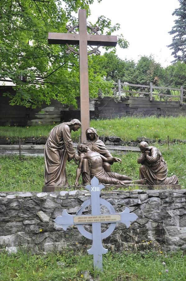 The 13th Station of the Cross with Jesus from Sainte Anne de Baupre Sanctuary from Quebec stock image