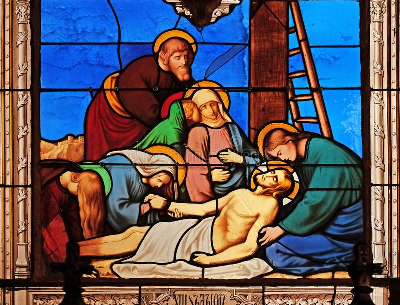 13th Stations of the Cross, Jesus ` body is removed from the cross royalty free stock photography