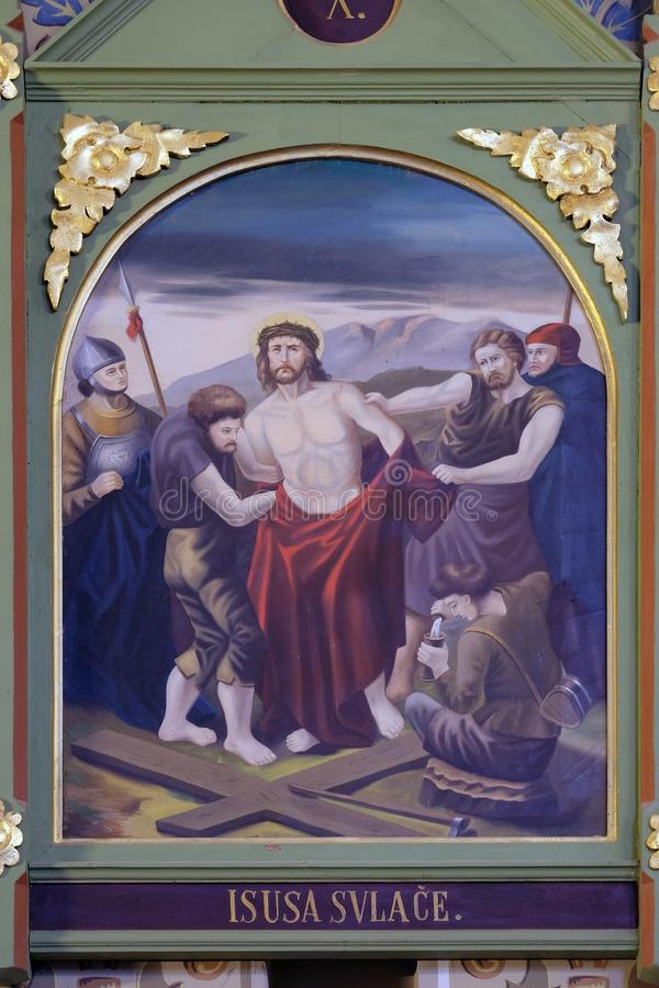 10th Stations of the Cross, Jesus is stripped of His garments. Church of Saint Matthew in Stitar, Croatia stock images