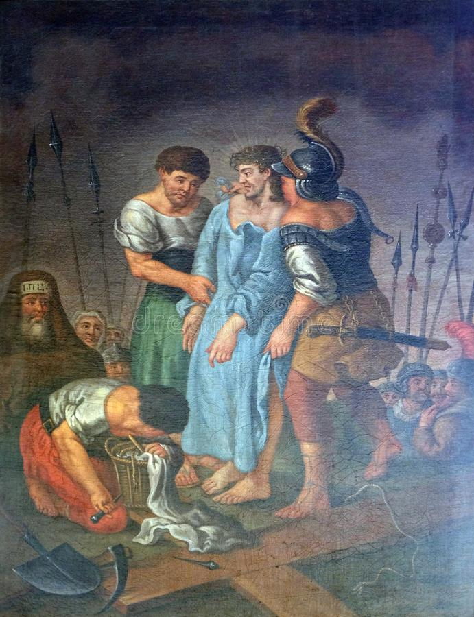 10th Stations of the Cross, Jesus is stripped of His garments. Maria im Grunen Tal pilgrimage church in Retzbach in the Bavarian district of Main-Spessart royalty free stock image