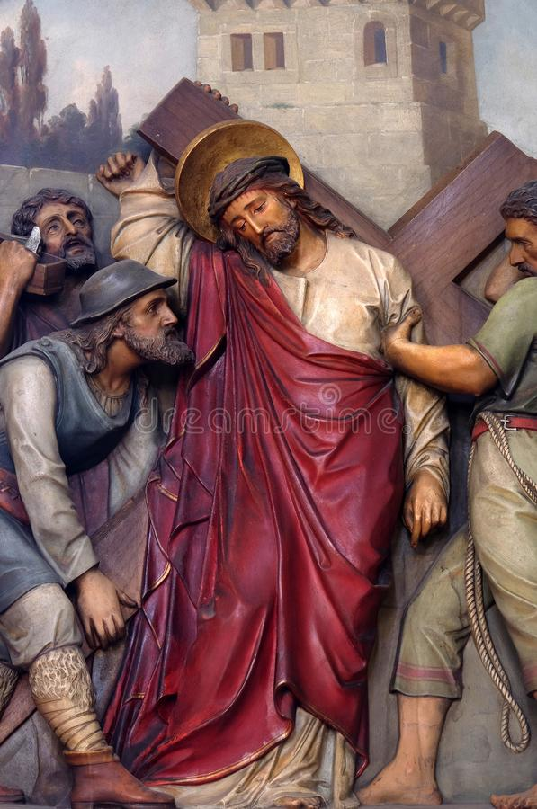 5th Stations of the Cross, Simon of Cyrene carries the cross. Basilica of the Sacred Heart of Jesus in Zagreb, Croatia stock photo