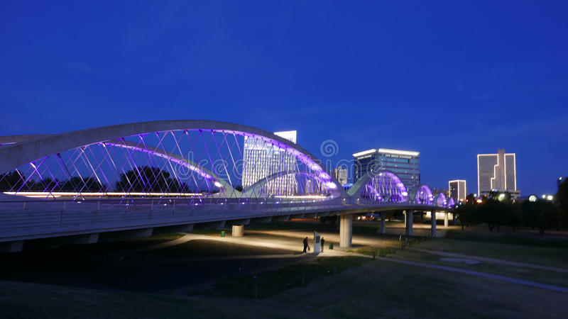 7th Street Bridge in Fort Worth in the Evening. Illumination of West 7th Street Bridge in Trinity River Park stock photo