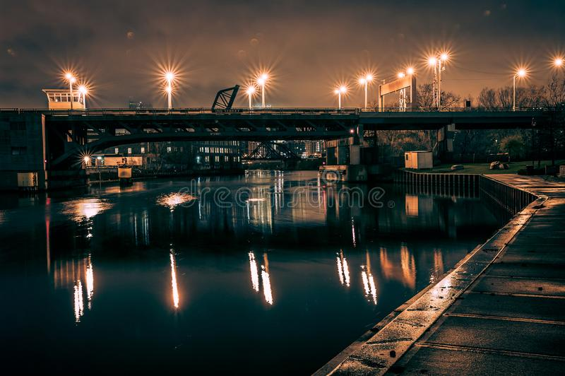 Industrial river bridge in Chicago at night stock images