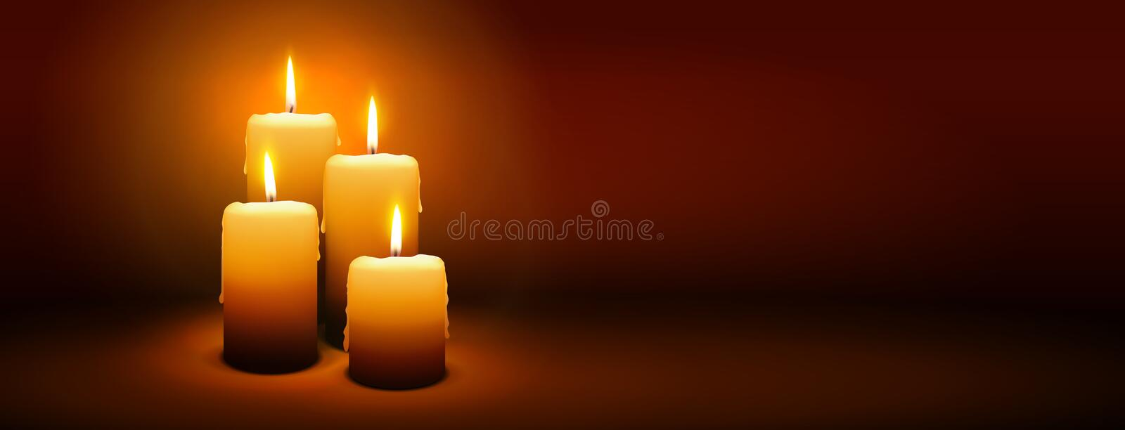 4th Sunday of Advent - Fourth Candle - Candlelight Panorama Banner royalty free stock photos