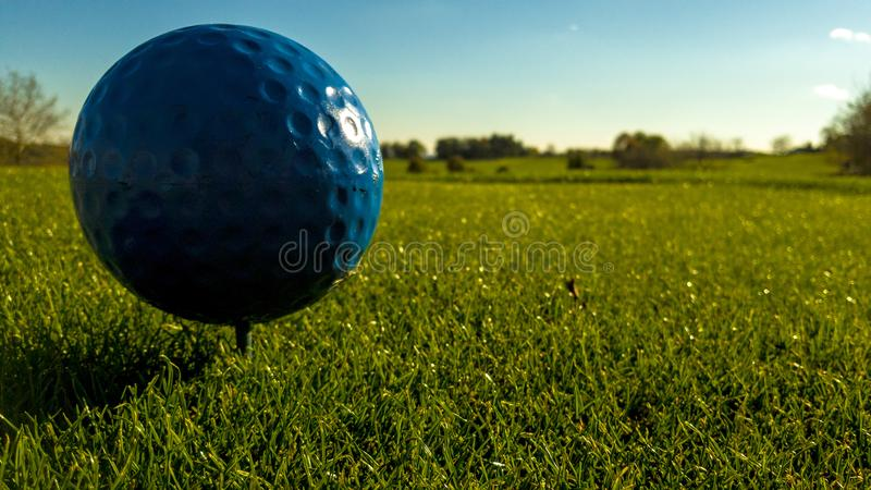 The 7th tee. Close up of the tee box stock photography