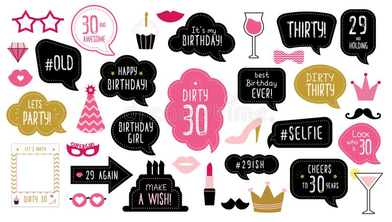 30th thirty birthday photo booth props set. Photo booth props set for 30th birthday party. Happy dirty thirty 30. Mustache, funny phrases, glasses, lips, crown royalty free illustration