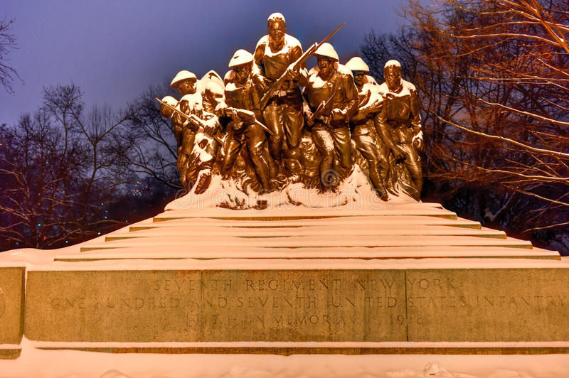 107th United States Infantry Monument - New York. 107th United States Infantry World War I Monument in Central Park New York on a winter evening. The monument is stock photo