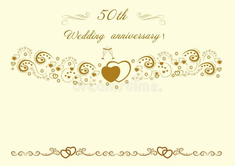 50th Wedding anniversary Invitation.Beautiful editable vector il royalty free stock photos