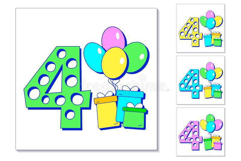 4th year anniversary celebration card. Greeting card with number 4, colorful balloons and gifts. Set of different color cards for stock illustration