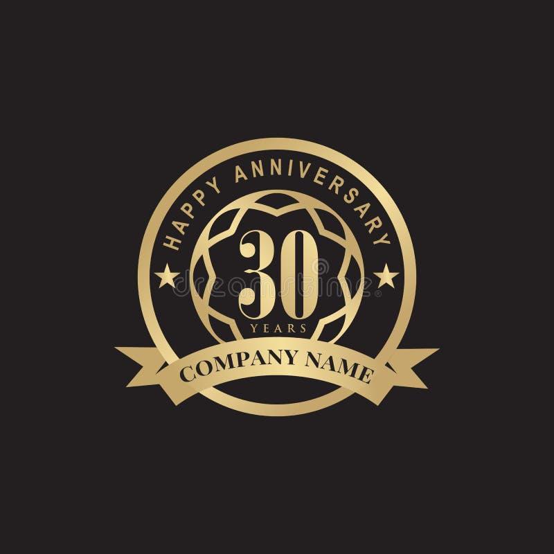 30th Year Anniversary Emblem Logo Design Template Stock