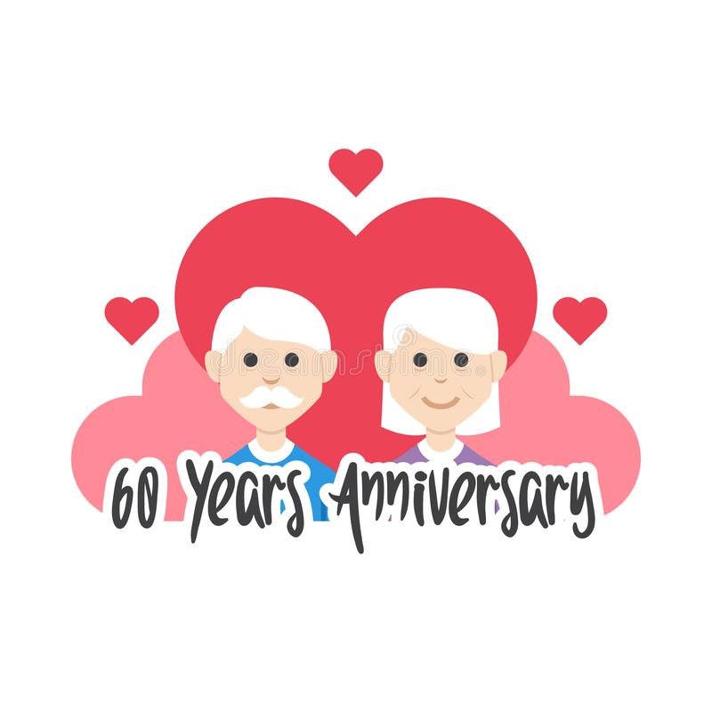 60 th years anniversary grandparents love vector vector illustration