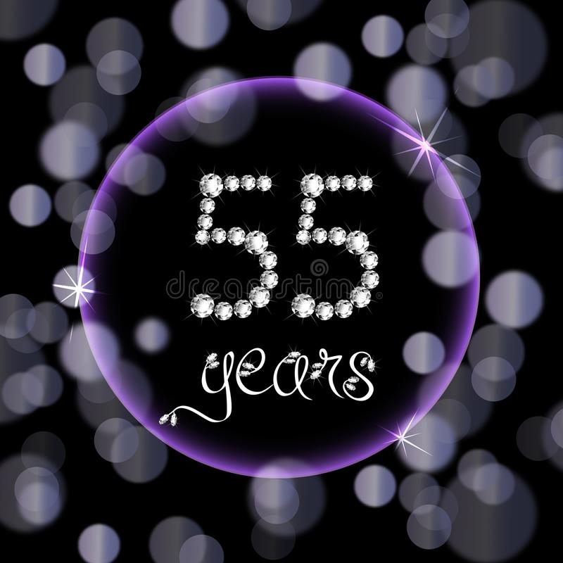 55th years happy birthday anniversary card invitation diamonds number purple bokeh lights vector illustration