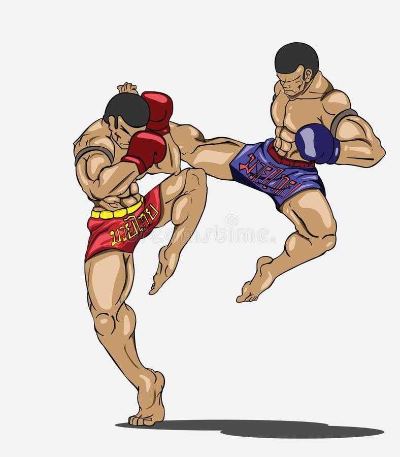 Thaïlandais de Muay. Art martial illustration de vecteur