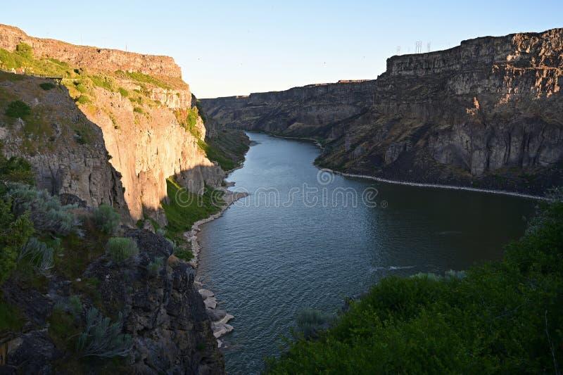 Tha el río Snake y barranco del río Snake en Twin Falls, Idaho fotos de archivo libres de regalías