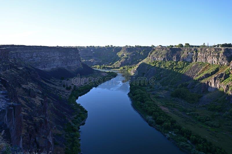 Tha el río Snake y barranco del río Snake en Twin Falls, Idaho fotografía de archivo libre de regalías