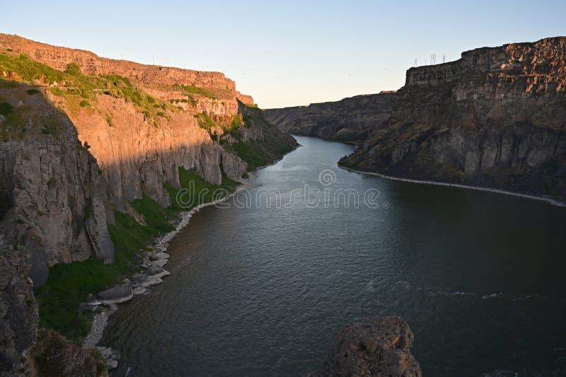 Tha węża rzeka i węża Rzeczny jar w Bliźniaczych spadkach, Idaho obraz royalty free